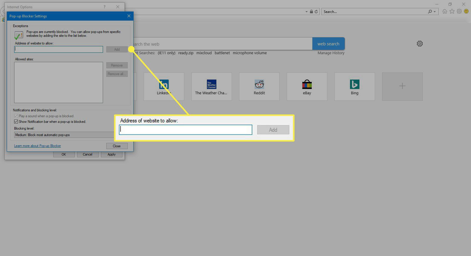 The safelist address field and Add button