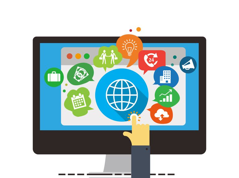 Illustration of a man clicking a computer screen with lots of icons on it