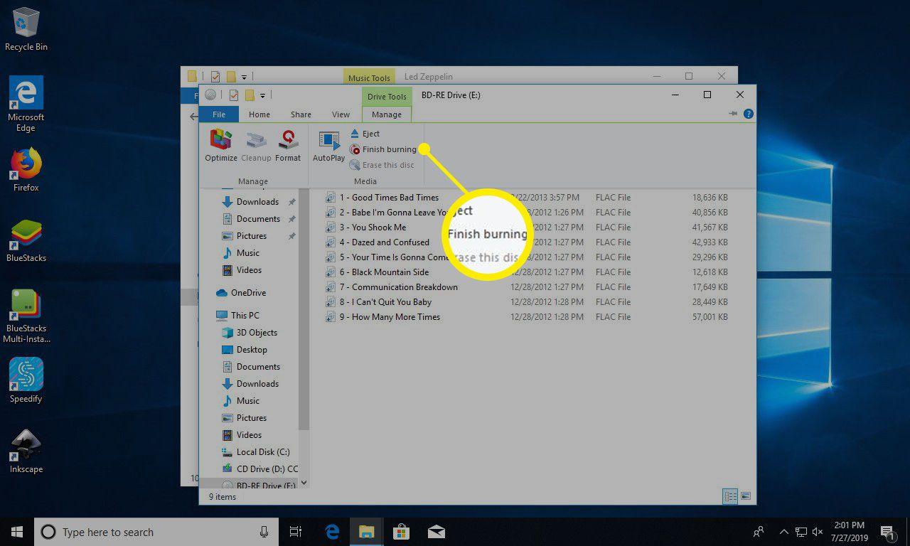 Windows 10 finish burning audio CD