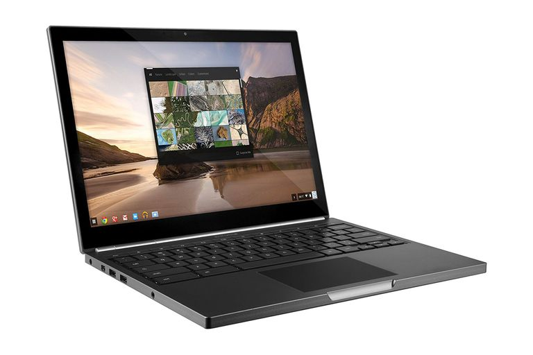 The Google Chromebook Pixel with an open screen displaying images