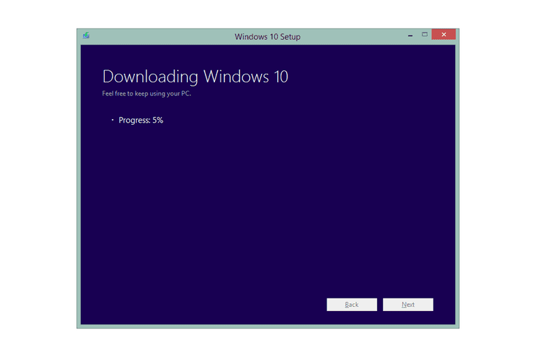 Screenshot of the Windows 10 ISO download process