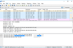 Wireshark displaying captured data from a packet