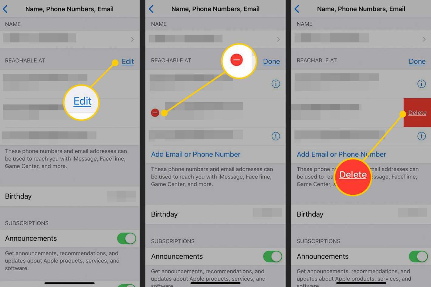 Removing a contact from iOS Settings