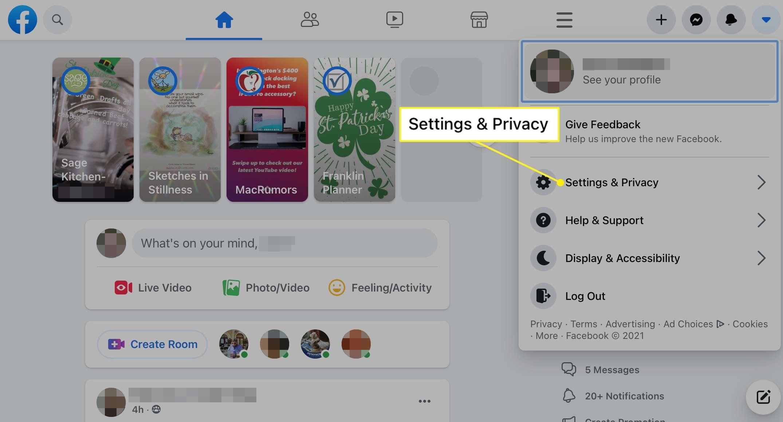 Facebook Settings & Privacy selected in menu
