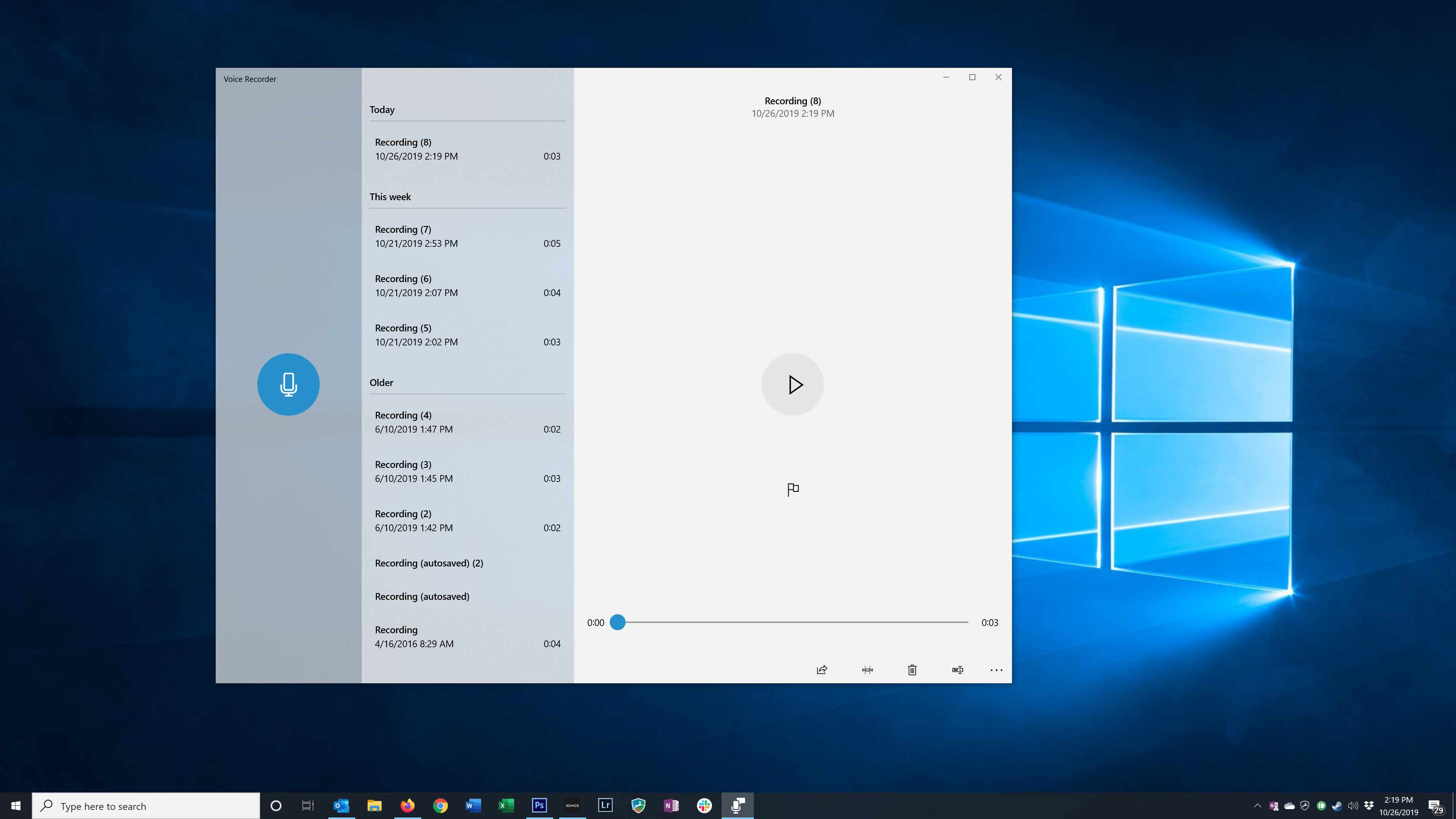 The Windows Voice Recorder window