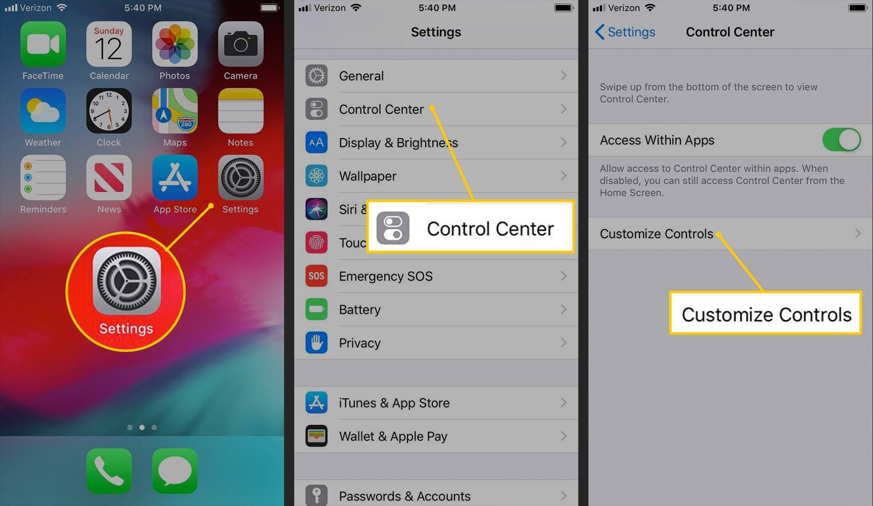 Settings, Control Center, Customize Controls