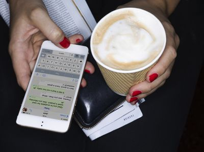 Messaging on iPhone while holding coffee