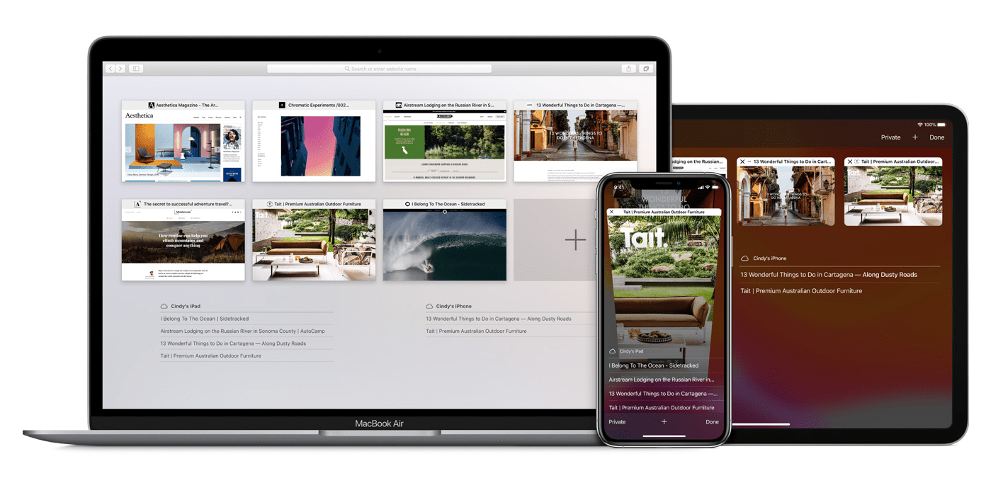 Apple's Safari browser's tab view on iOS and macOS