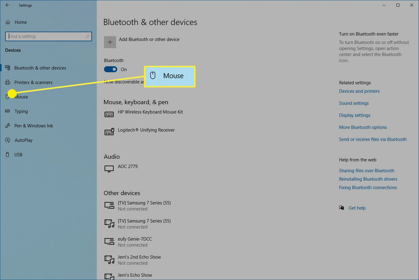 Mouse controls on Windows 10.