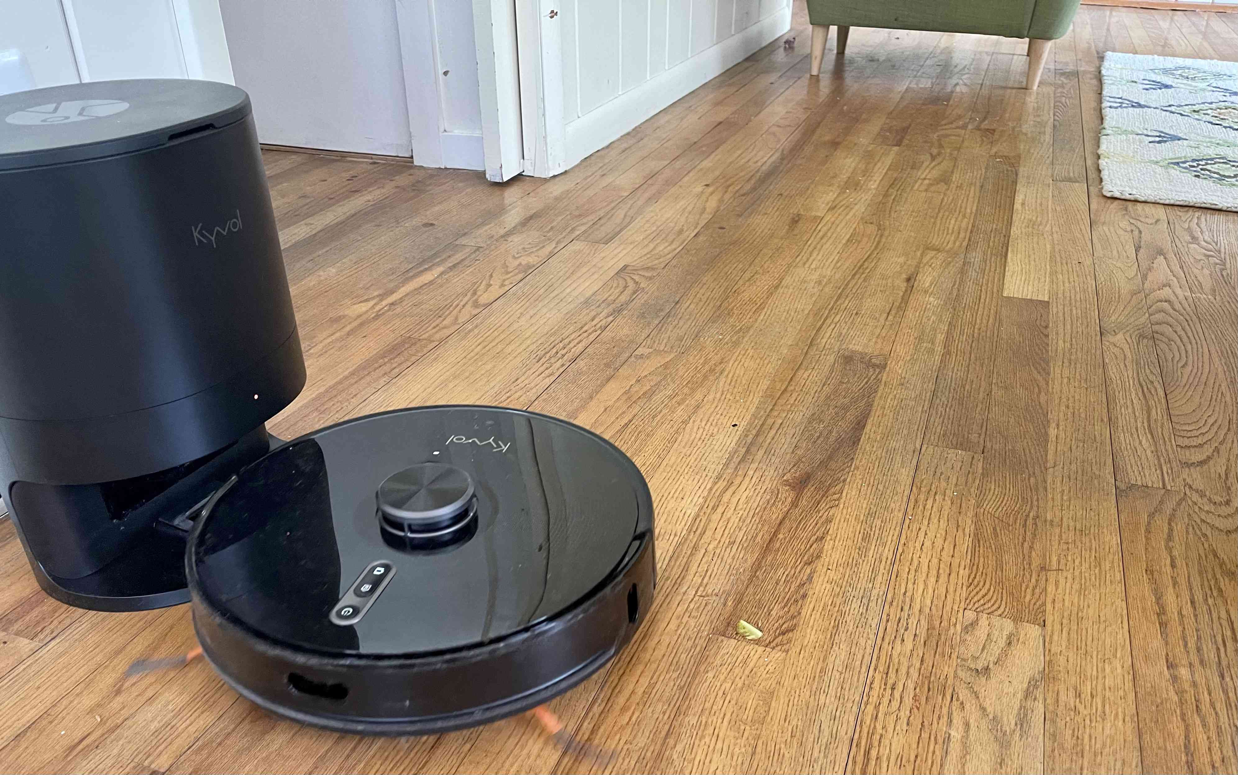 The Cybovac S31 Cleaning Robot on a hardwood floor