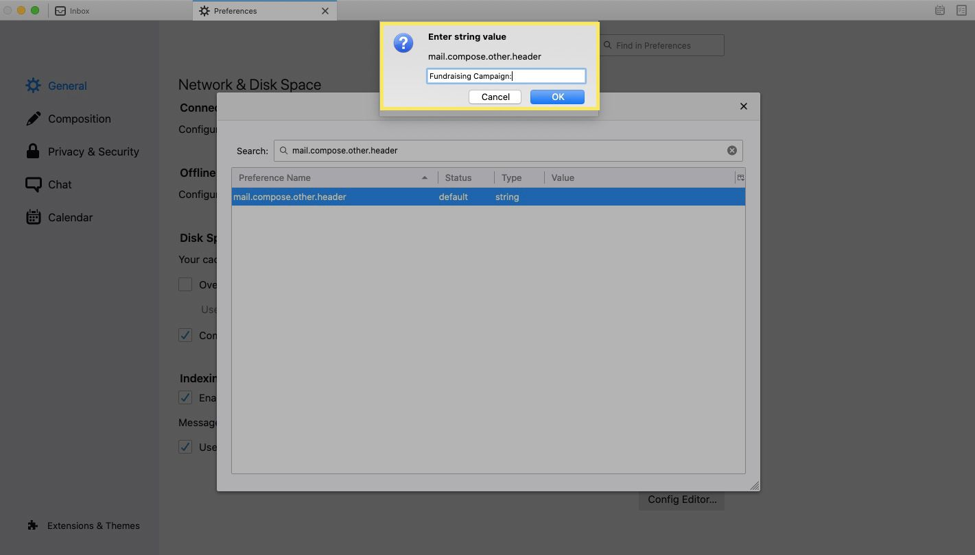 In the Enter string value dialog box, enter your custom header and select OK.