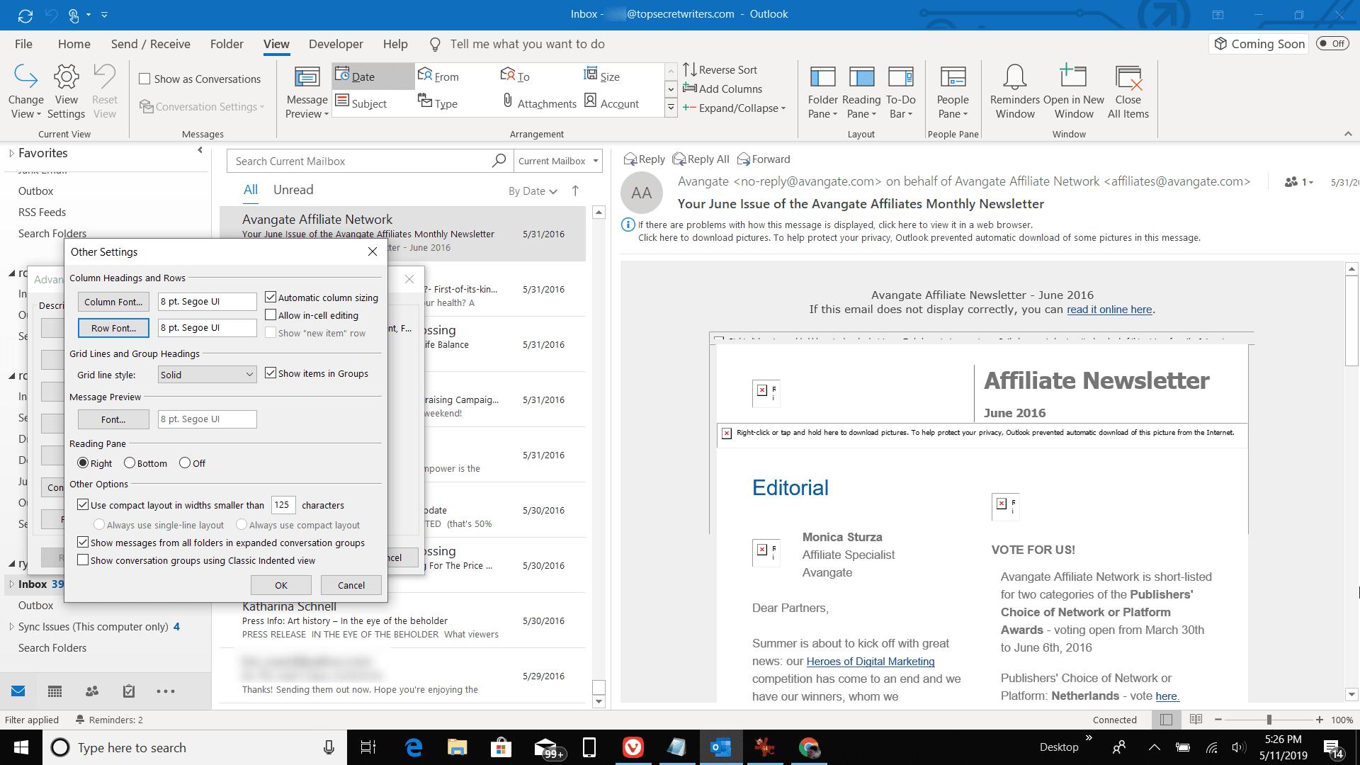 Screenshot of Row font in Outlook