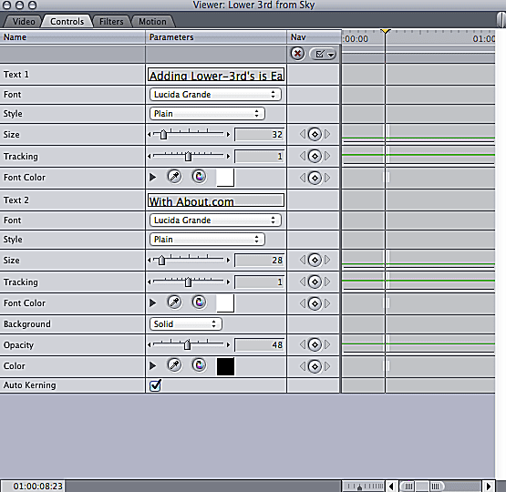 Screenshot showing controls of lower third