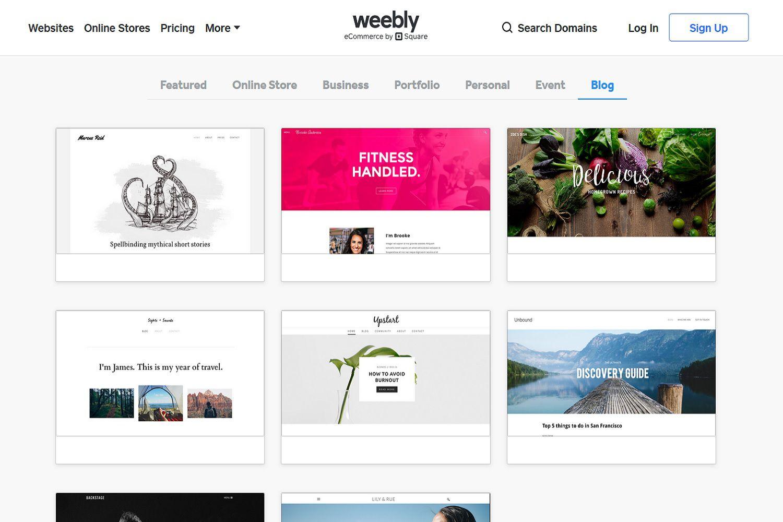 Desktop site screenshot of Weebly's website design template options for blog-style websites.