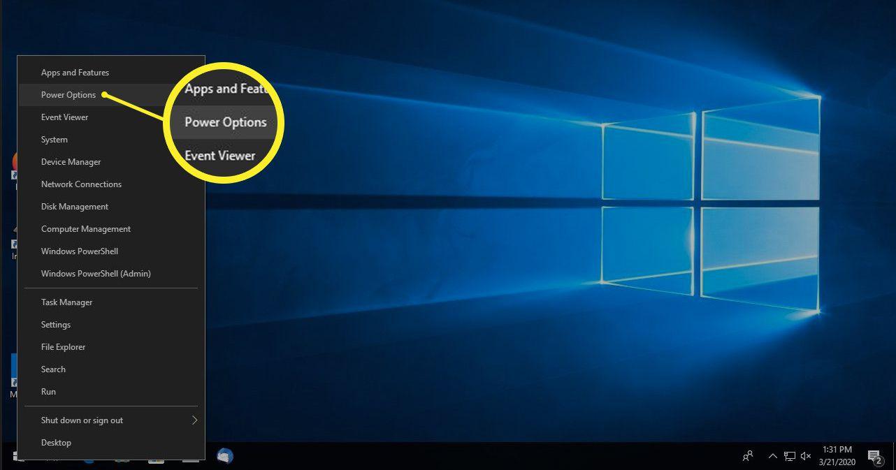 Windows 10 Start > Power Options