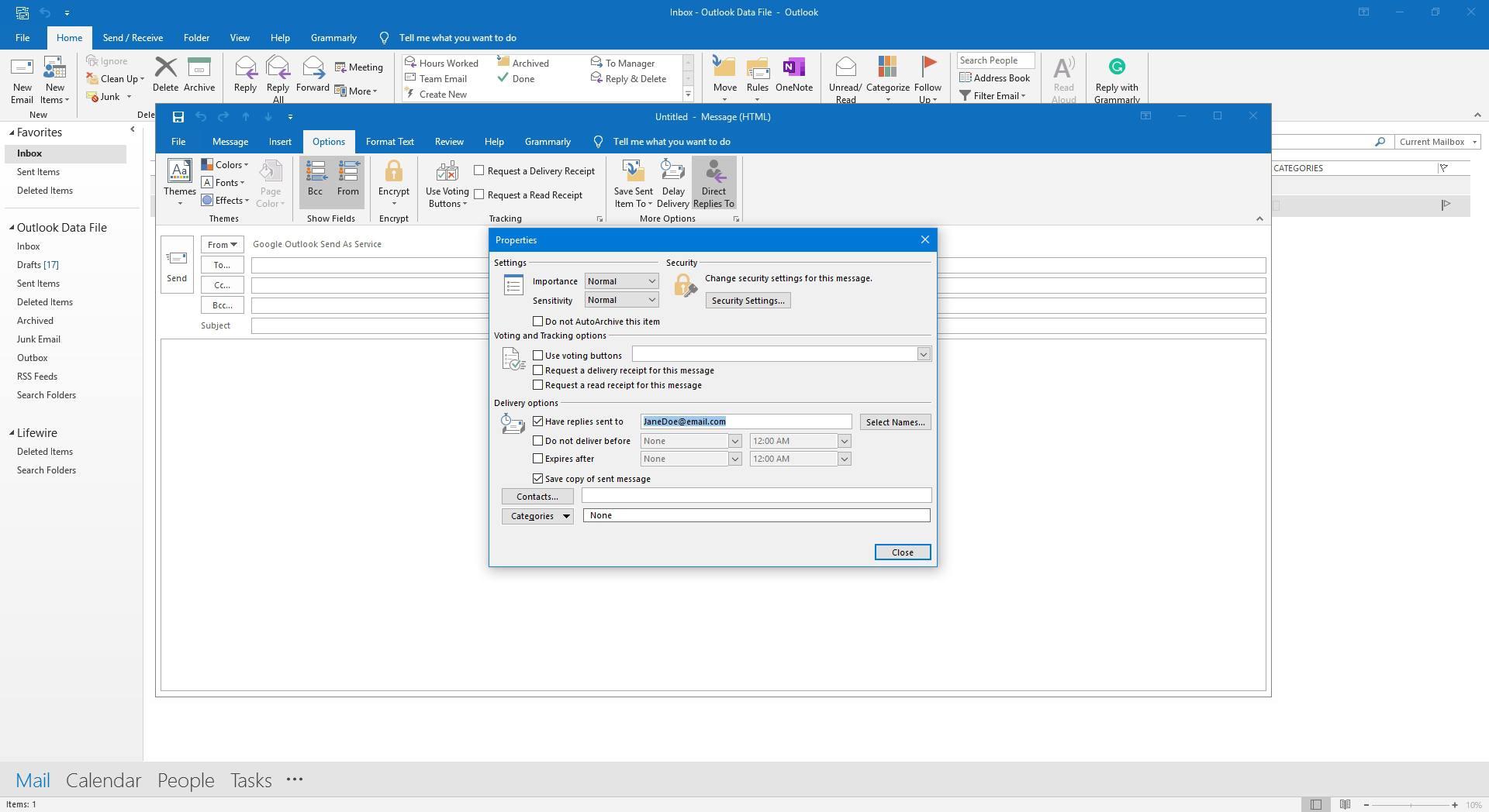 Screenshot of Direct Replies to dialog.