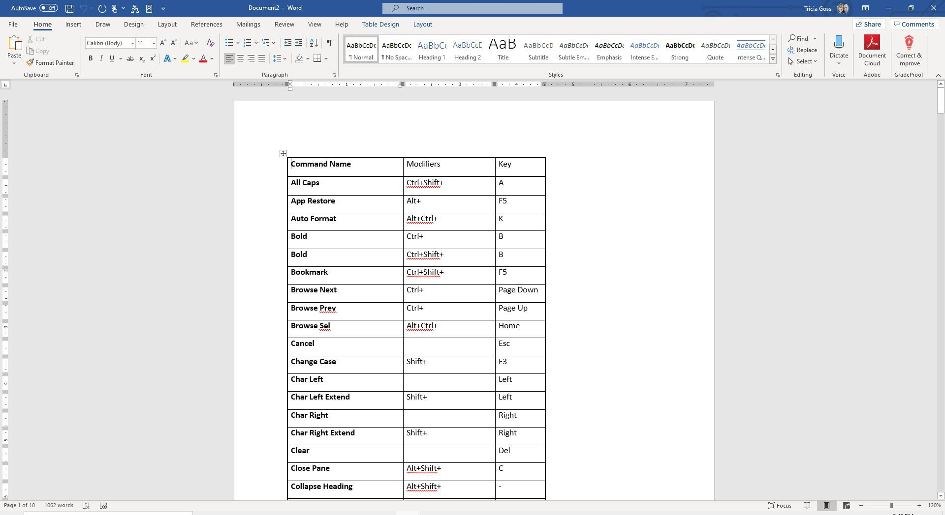 Screenshot of list of commands in Word