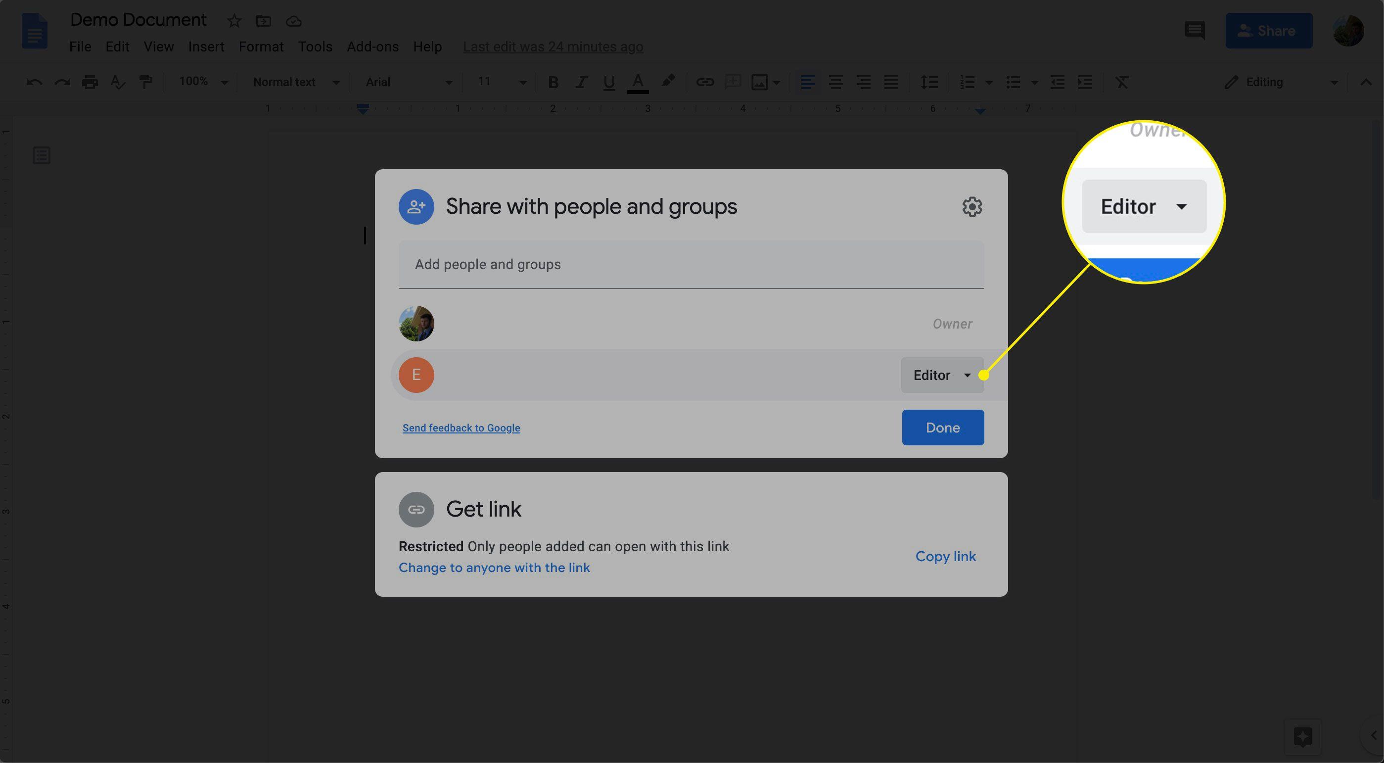 The collaborator menu in Google Docs