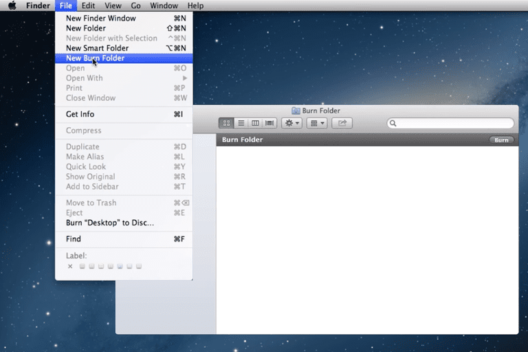 Screenshot showing how to create a new burn folder on a Mac