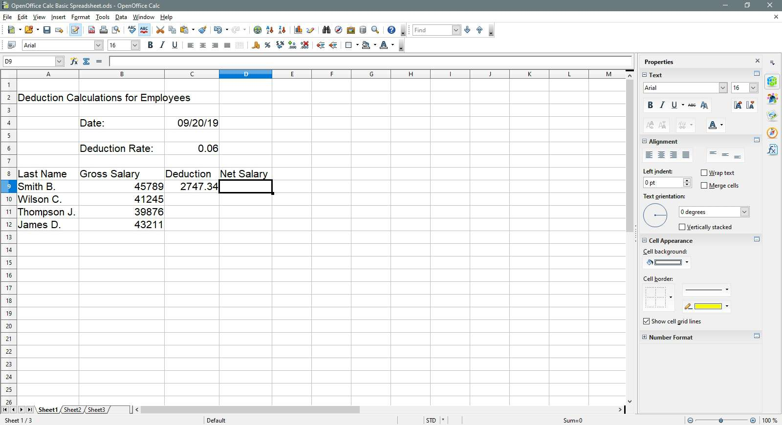 The cell D9 is selected in OpenOffice Calc.
