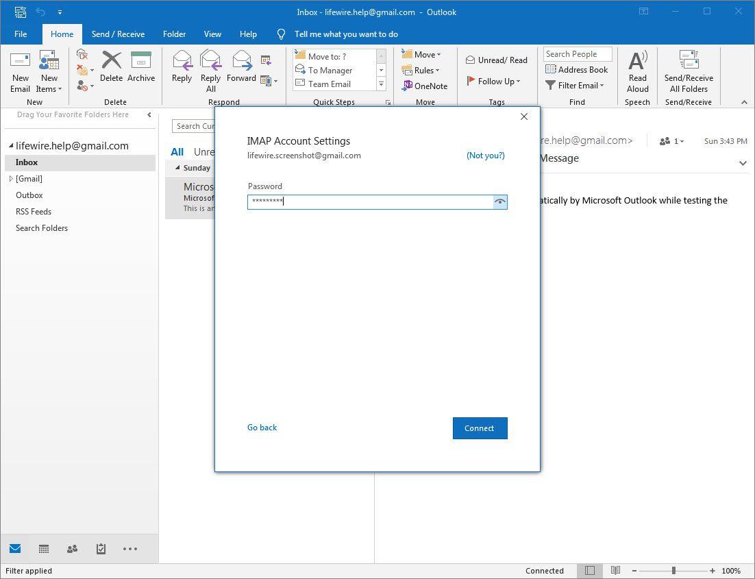 Outlook 2016 IMAP Account Settings password field