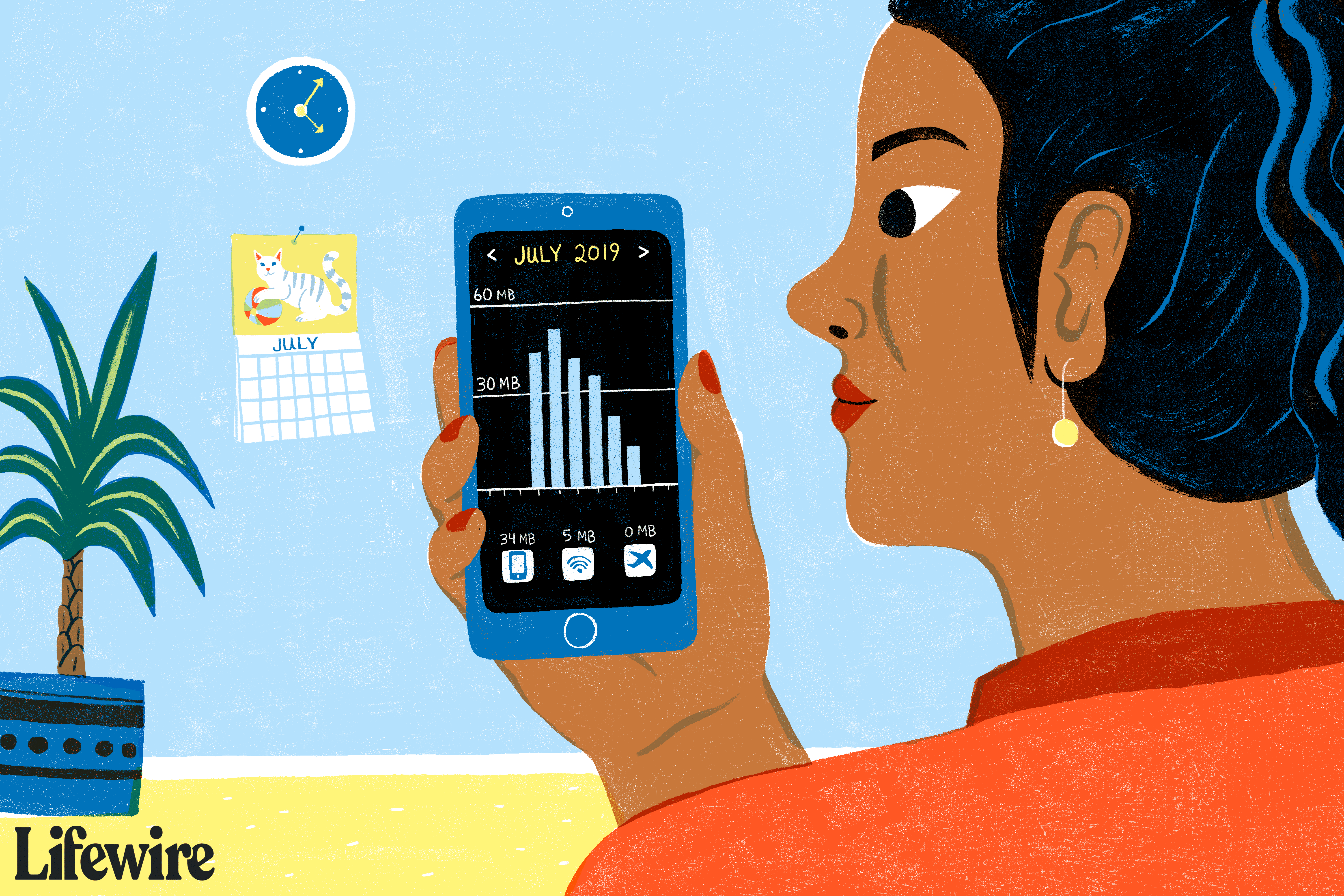 A person holding a smartphone and looking at a data usage app