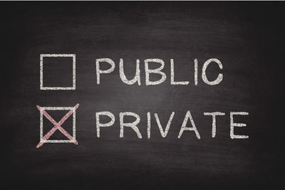 Sign with a check box selected on private and left open on public, representing private browsing