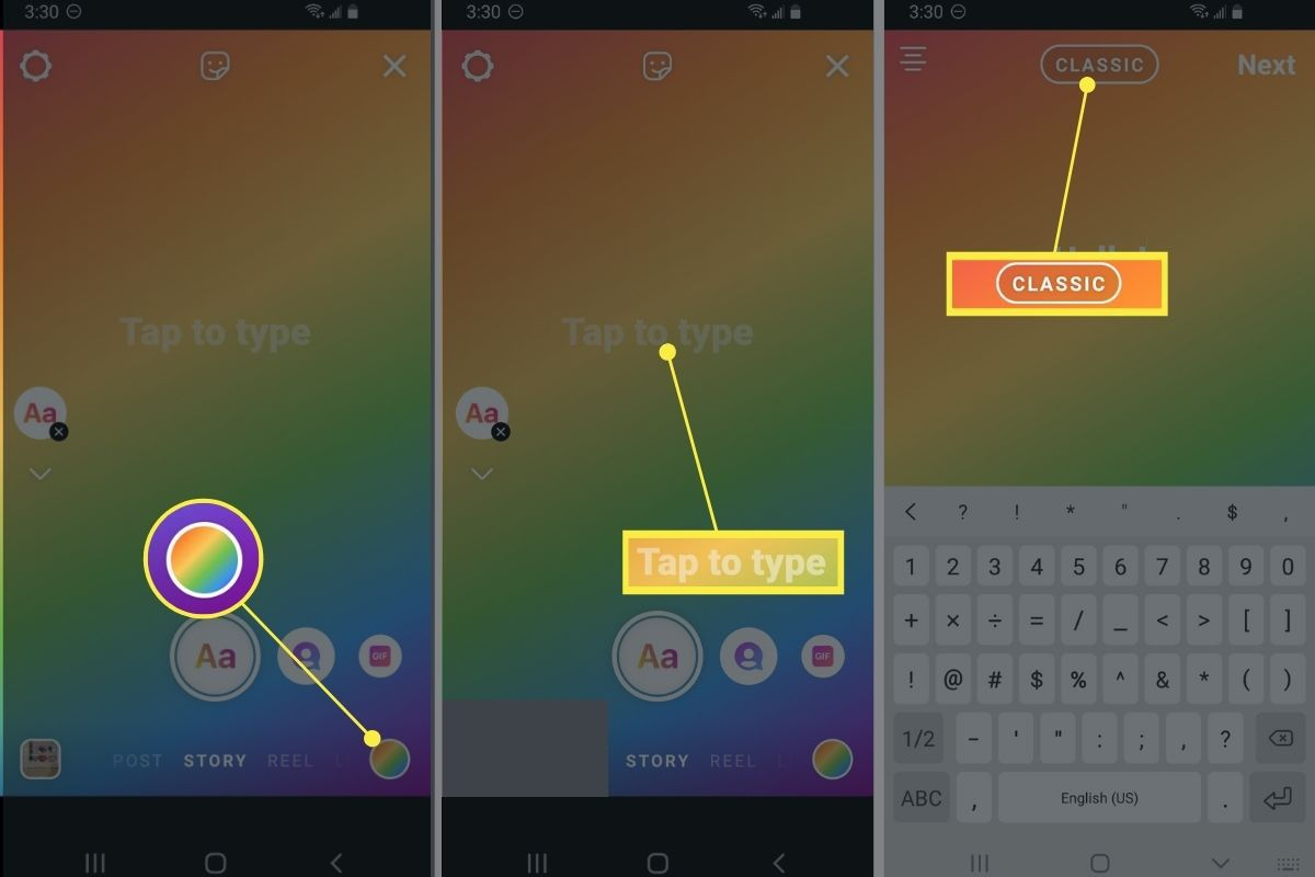 Color button, Tap to type, and font styles in Instagram.