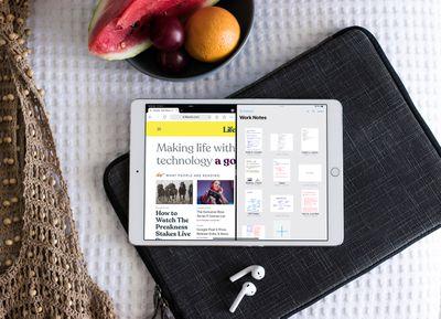 An iPad in split screen mode.