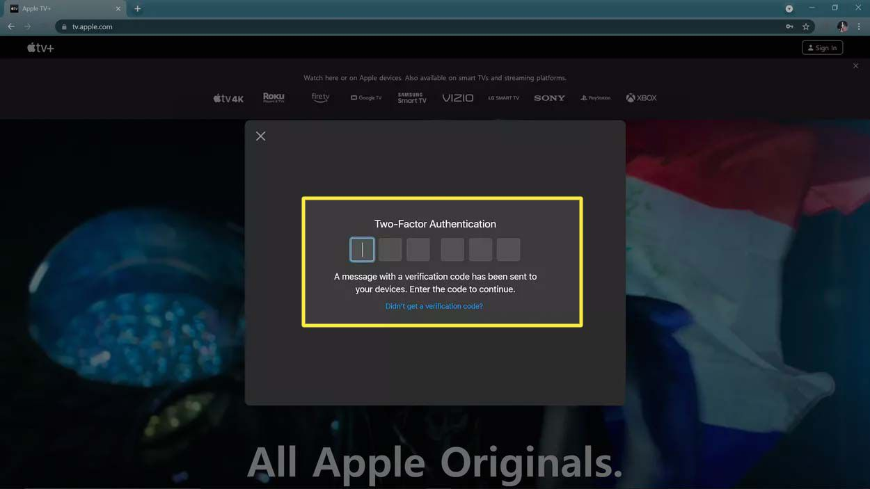 Entering an Apple two-factor code on the Apple TV website.