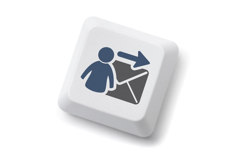 An illustration of a keyboard key that shows a person forwarding email.