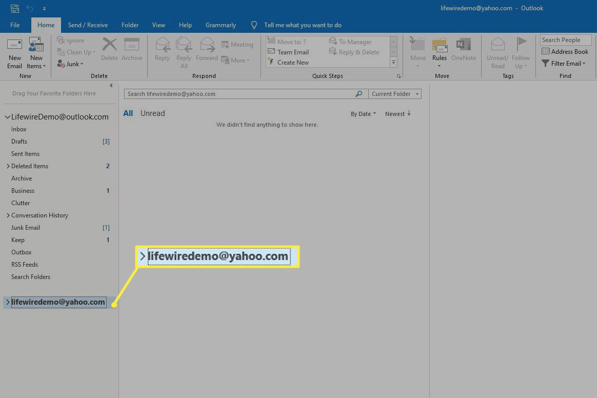 Email address in Outlook sidebar