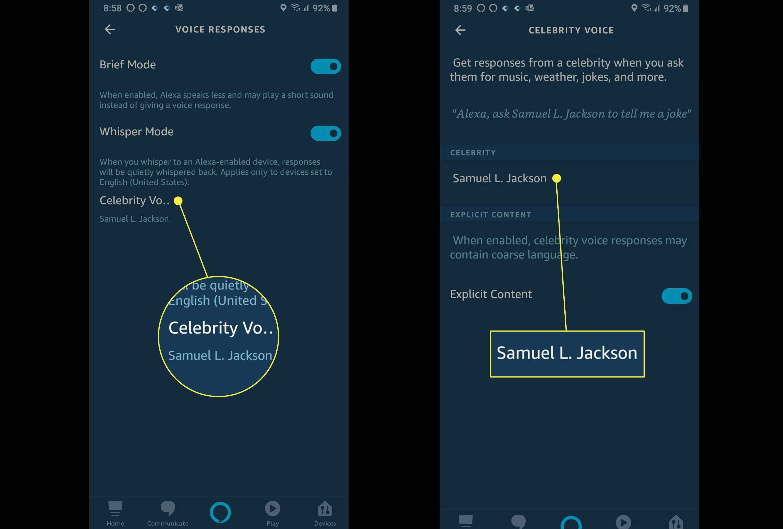 How to toggle off explicit content from Samuel L. Jackson on Amazon Alexa.