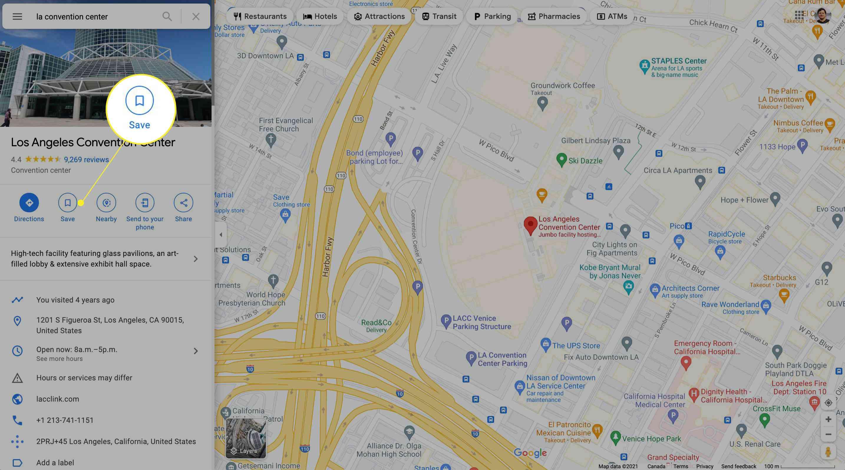 Saving LA Convention Center on Google Maps for desktop.
