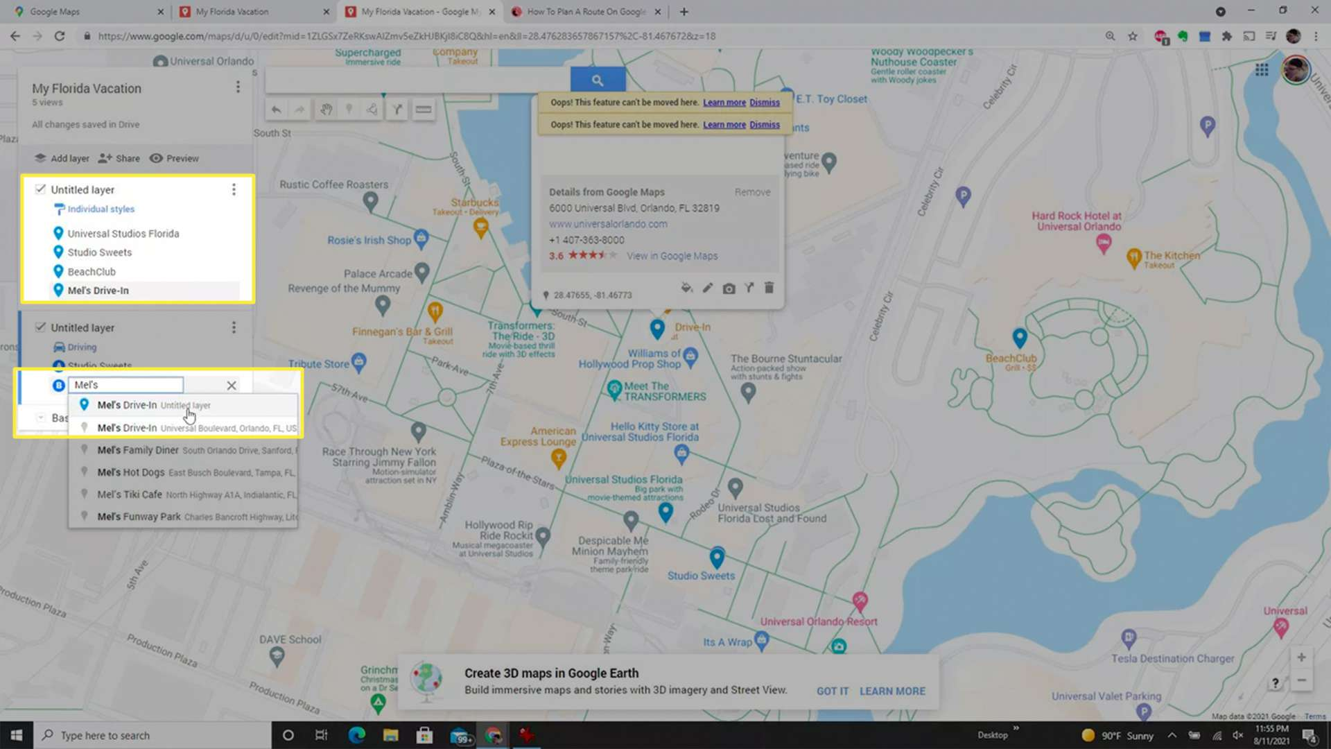 Searching for the next location in Google Maps when creating a custom driving route.