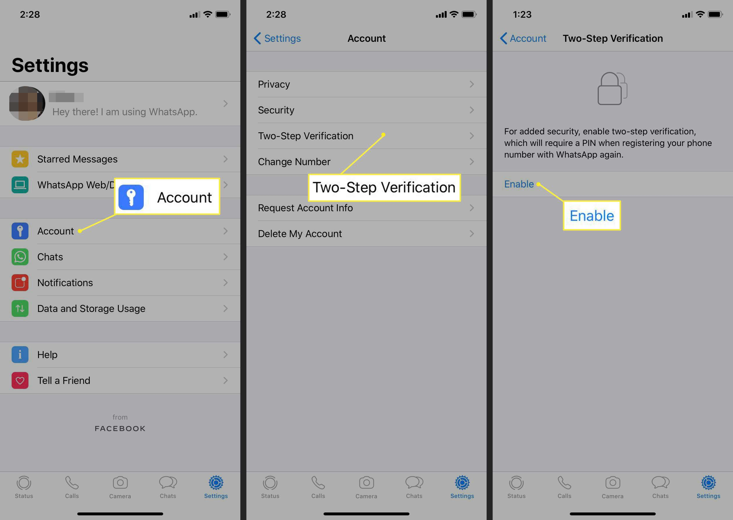 Turning on two-step verification