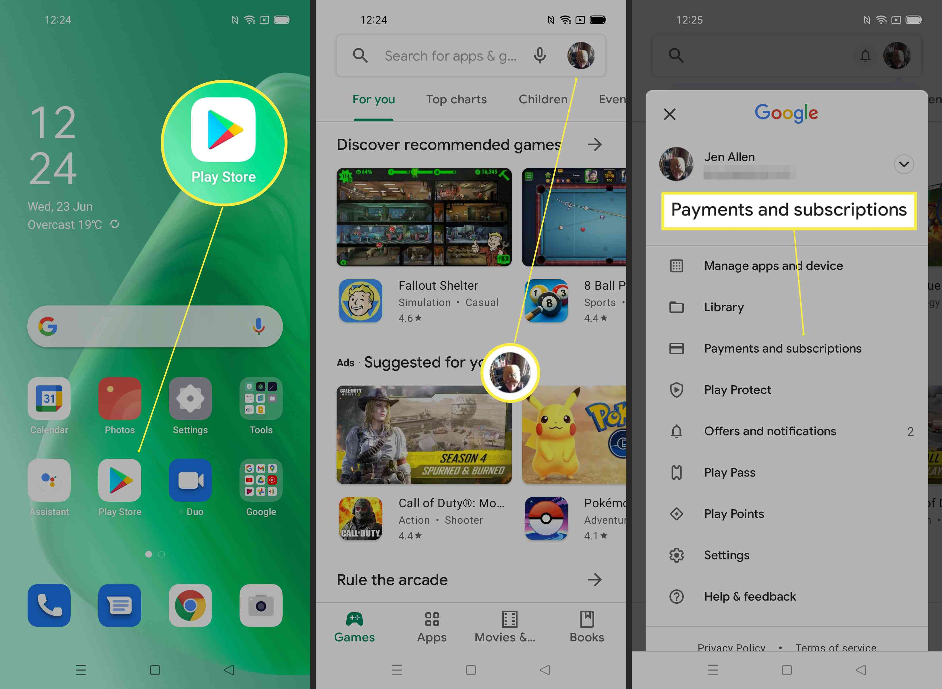 Steps required to look up subscription on Android