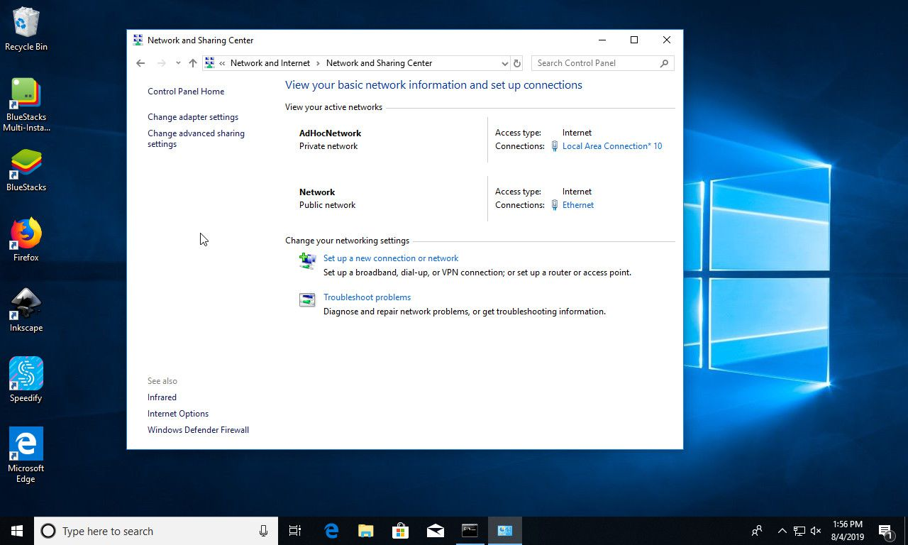 Windows 10 network sharing center with ad hoc