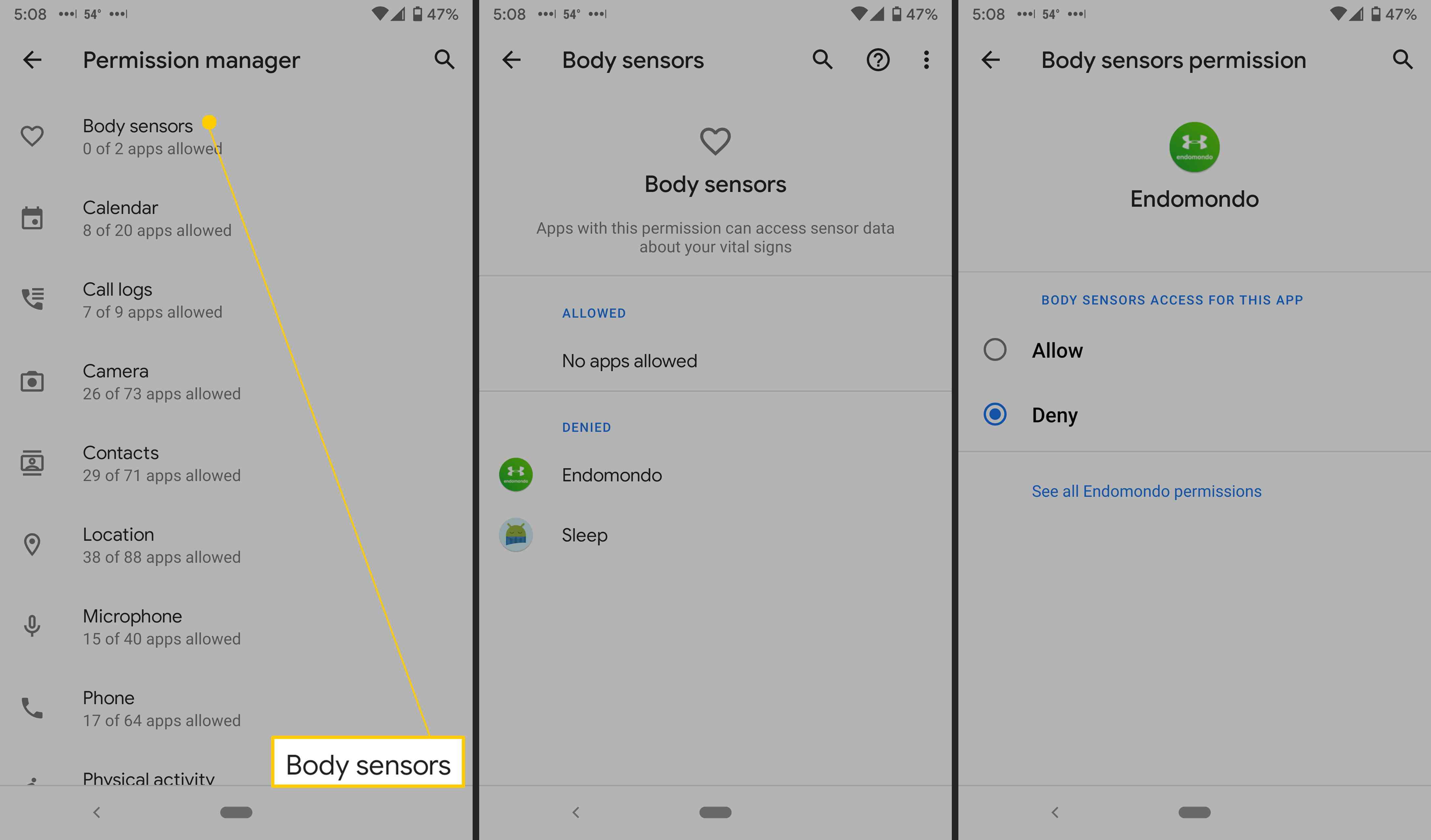 Android permission settings.
