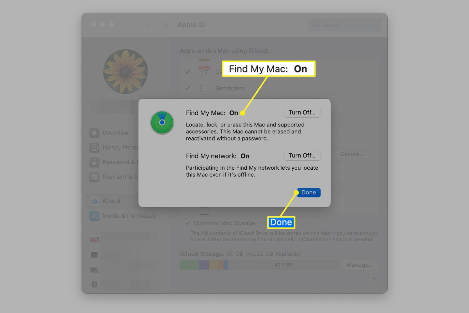 Find My Mac activation screen