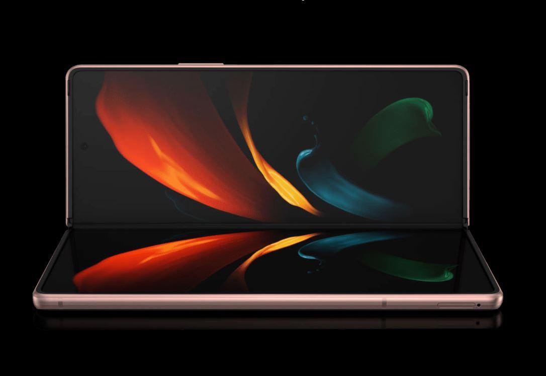 Samsung Galaxy Z Fold 2 against a black background