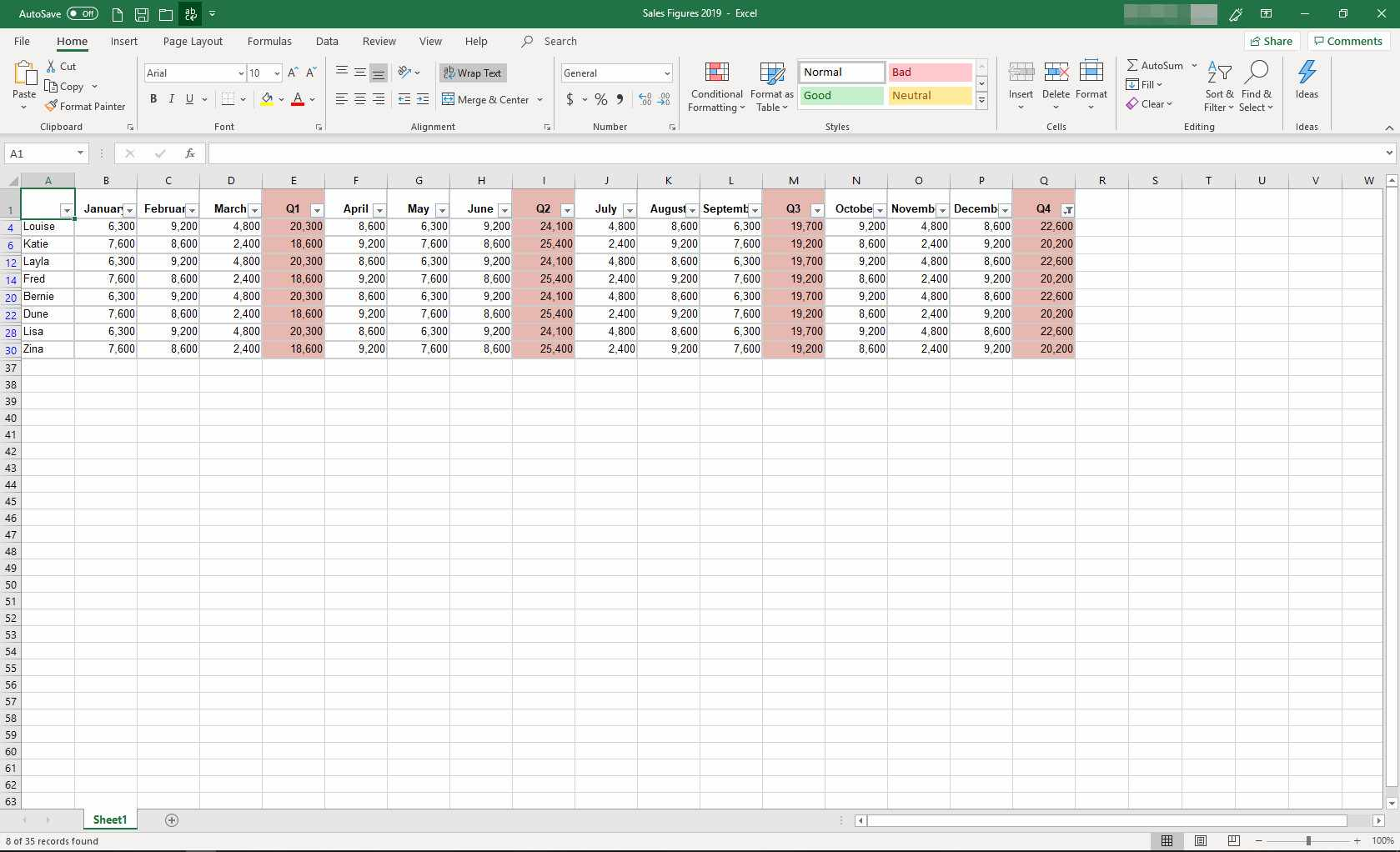 MS Excel with data filtered