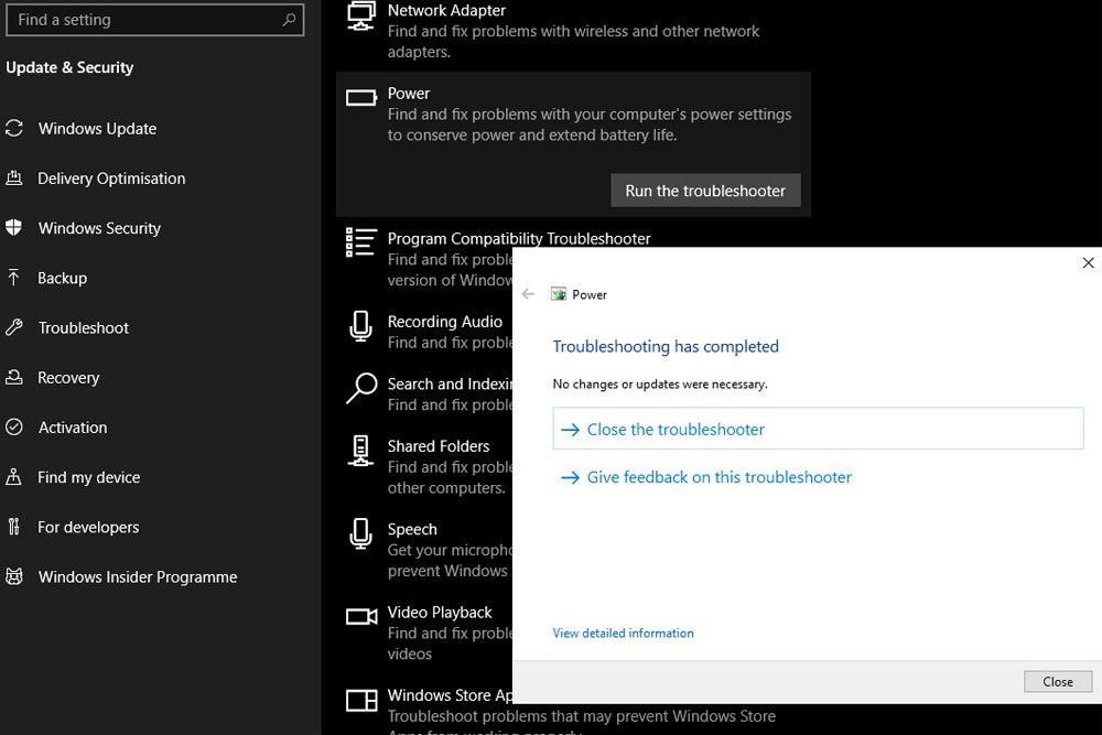 Windows 10 Power Troubleshooter
