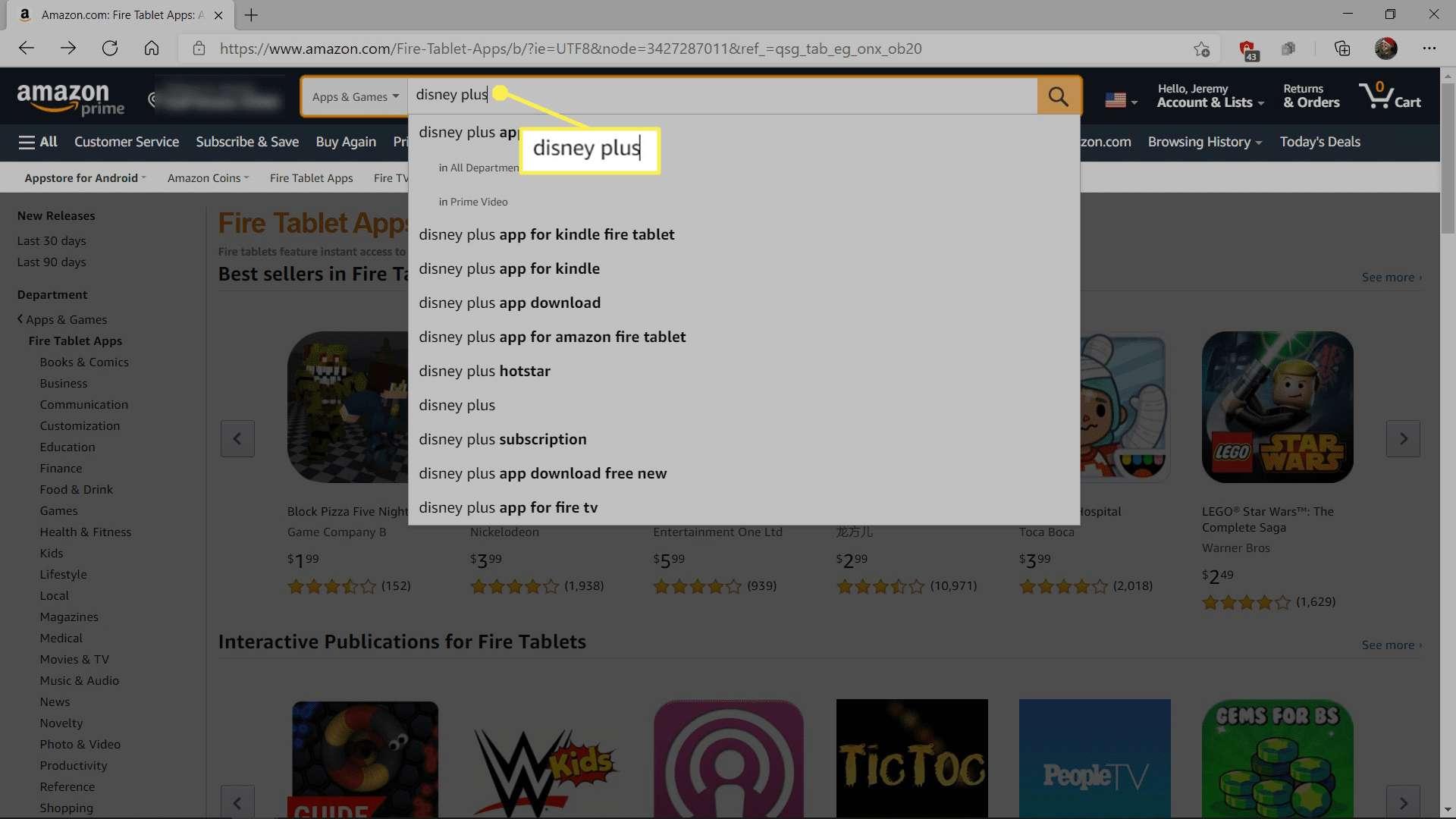 Searching for Disney Plus on Amazon.