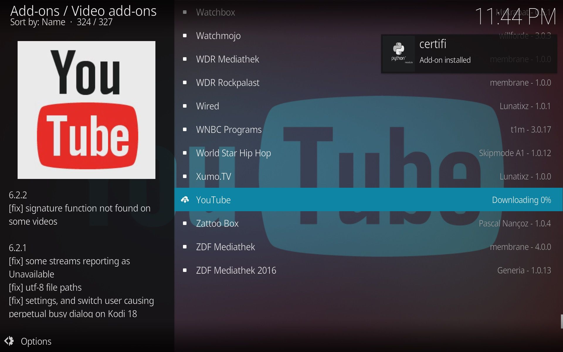 Kodi Youtube screenshot