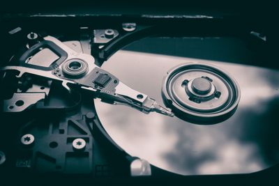 Black and white picture of a hard disk drive