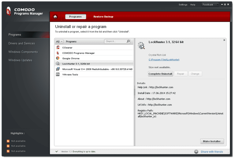 Comodo Programs Manager v1.3 in Windows XP