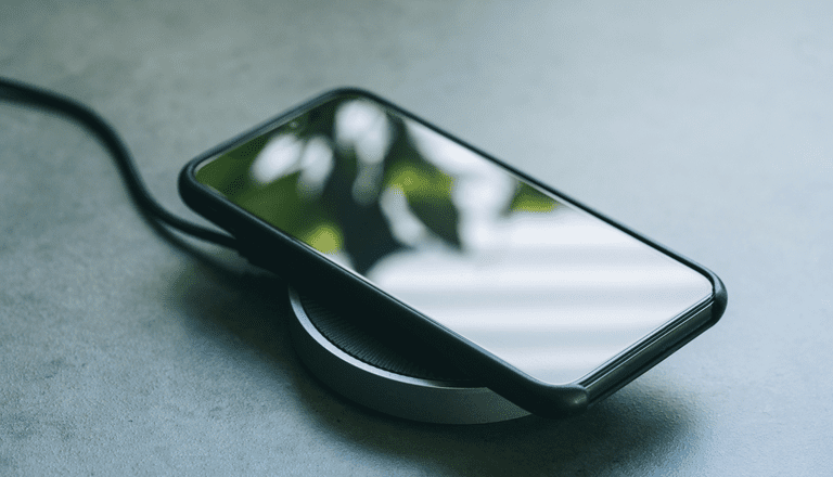 Smartphone on a wireless charging pad