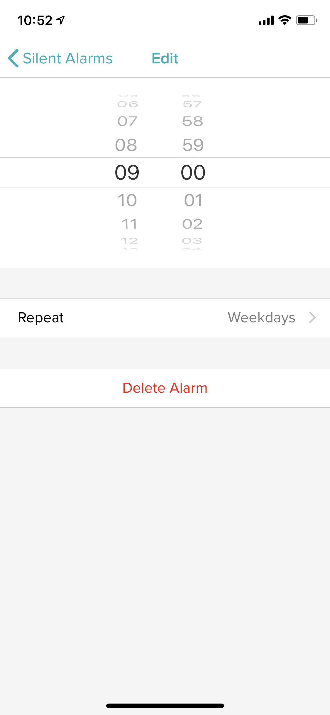 The Fitbit App's Delete Alarm Screen