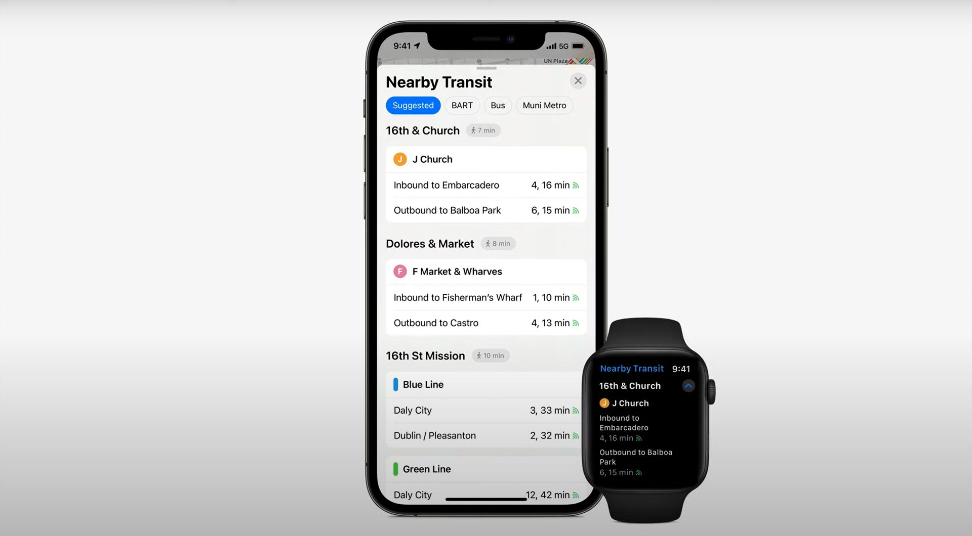iOS 15 Apple Maps transit routes on iPhone and Apple Watch.